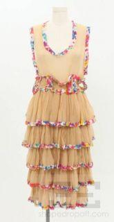 Herchcovitch Alexandre Nude Sheer Floral Trim Ruffle Dress Size M
