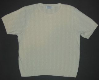 Alfred Dunner Sz M to L Off White Knit Sweater Top Shirt Short Sleeve