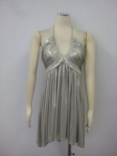 Alice & Olivia Saks Fifth Ave $315 Womens Silver Halter Cocktail Dress