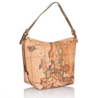Alviero Martini 1 Classe Gold Woman Shoulder Bag Map Print LMN683 Gift