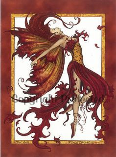 Amy Brown Fairy Greeting Gift Card Fire Dance Fantasy