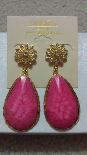 Amrita Singh Gold Flower and Pink Chandelier Earrings ERC 82 NWT