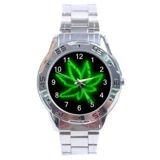 Weed Marijuana Leaf Stainless Steel Analogue Watch