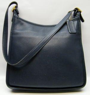 Coach Andrea Slim Navy Blue Large Leather Handbag Hand Shoulder Bag