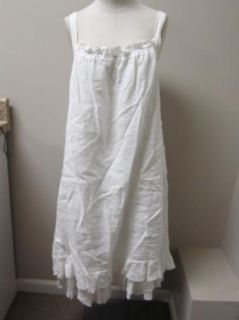 Eileen Fisher Hankerchief Linen Shirred Cami Dress XL White $258