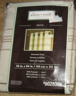 Allen Roth Deco Grommet Panel Drape Curtain Ivory 56x84 New