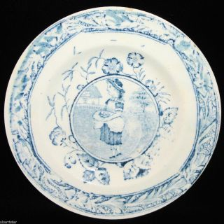 Staffordshire Blue Childs Plate ~Allerton Little May Apron c1880