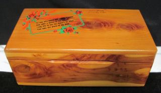 Vintage Cedar Wood Jewelry Trinket Box Chest Cedar Point Mother Poem