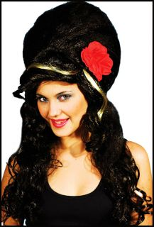 Amy Winehouse Fancy Dress Black Beehive 60s Wig with Roses Tattoos Hen