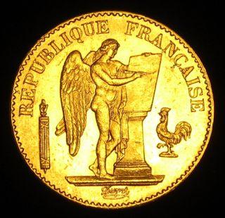 Standing Genius/Golden Angel Heavy gold 20 Francs Coin. 6.45gm