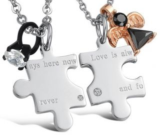 Steel Forever Love Puzzle Black Ring Gold Angel Charms Necklace