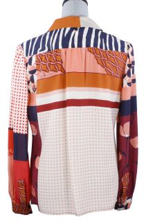 Tory Burch Angelique Blouse Tamarind Collage Silk Signature Top