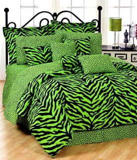 8pc lime green zebra print comforter sheet set full