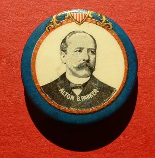 1904 Alton PARKER patriotic Shield BP campaign button pin TR Teddy