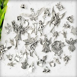 19pcs Tibetan Silver Mixed Angels Spirit charms Pendants IWTS0621