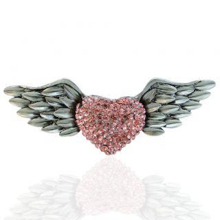 Vintage Style Angel Wing Love Heart Pin Brooch Rhinestone Crystal Pink