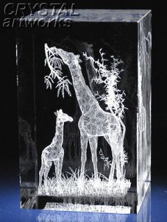 grazing giraffes 3d laser etched crystal figurine 1729s from ukraine