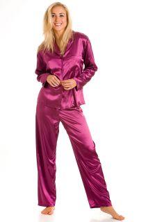 New Ladies Camille Lingerie 2pc Satin Pyjama Set Womens Trousers Top
