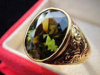BIG Size 14 Mens GOLD RING Easy Stunning GREEN Sapphire Gemstone Thai