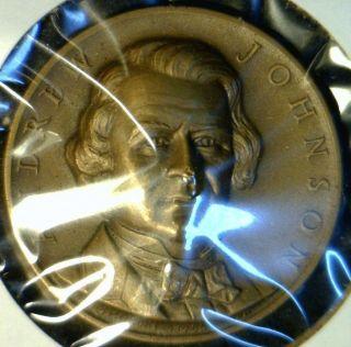 1965 Andrew Johnson High Relief Commemorative Brass Medal Token Coin