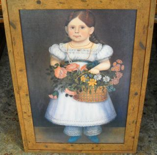 American Folk Art Painting Portrait Girl with Basket of Flowers Frame