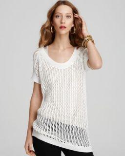 Anne Klein New Ivory Open Stitch Scoop Neck Raglan Sleeve Pullover Top