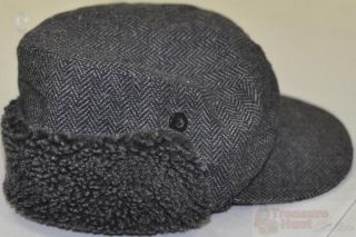 Amicale Black/Grey Pattern Muff Hat W/ Faux Fur Lining Sz L/XL