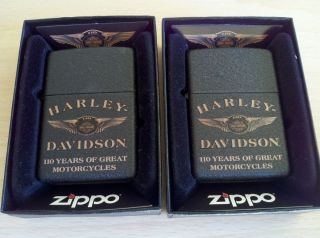 110th Anniversary Harley Davidson Zippo Lighter Lot of 2