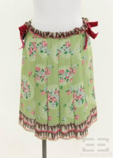 Anna Sui Green Pleated Floral Velvet Trim Skirt Size 4