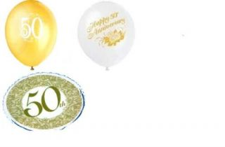 50th Wedding Anniversary Party Balloons Gold 50
