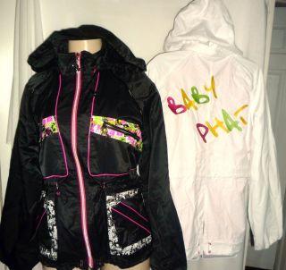 Baby Phat Womens Thrill Anorak Jacket Hooded Black White Sz s M L