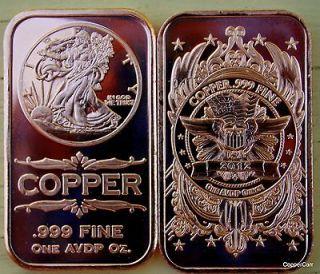 25 1 Ounce Oz. 999 Copper Bullion Art Bar Ingots Copper New 2012