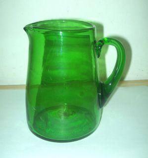 Vintage  Emerald Green Glass Blenko Pitcher