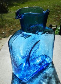 Vintage Blenko Glass Water Bottle Jug 384 Double Spout Blue Beauty