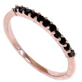 Rose Gold 30ct Black Diamond Wedding Anniversary Ring