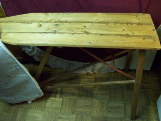 Antique Plymouth Wood Top Ironing Board Metal Frame
