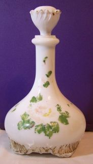 Antique Milk Glass Decanter Barber Perfume Bottle w/ Stopper Gufous