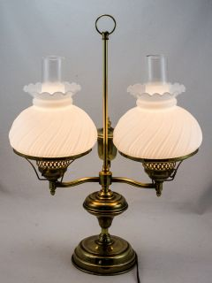 Vintage Electric Brass Double Student Lamp With Swirled Milk Glass