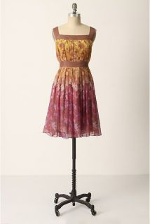Anna Sui for Anthropologie silk Cascading Foilage dress L 12