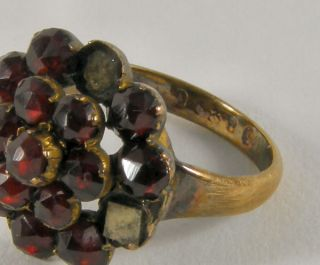 Antique 15 Carat Gold Rose Cut Garnet Ring for Repair