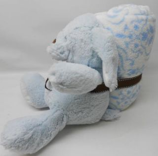 NEW Blankets & Beyond PLUSH Baby Blanket Stuffed Puppy Dog BLUE