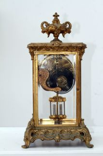 Ansonia Brass and Glass Mantle Clock