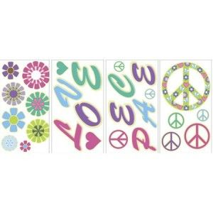 Glow in The Dark Peace Sign 27 Big Wall Decals Love Flowers Room Decor