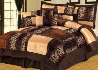 Bag Animal Print Leopard Short Fur Comforter Set Queen King