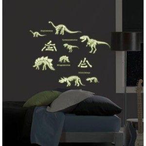 Glow in The Dark Dinosaurs 24 Big Wall Decals Skeleton Bones Room