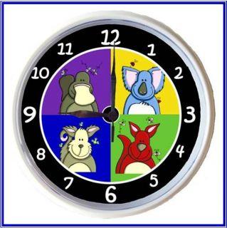Kids Wall Clock Aussie Animals Bright Kids Art 20cm