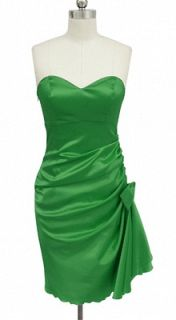 EN664UP EMERALD GREEN SIDE PLEATED STRAPLESS PADDED BRIDESMAID PARTY