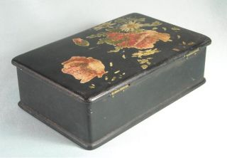 Antique Hand Carved and Painted Wood Jewelry Box Floral Design 1800s