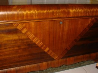 ANTIQUE 1920s LANE CEDAR CHEST ART DECO WATERFALL WOOD INLAY LOCK