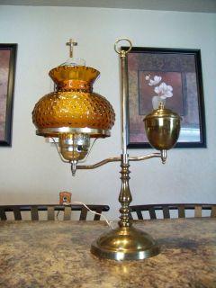 VTG ANTIQUE VICTORIAN STUDENT DESK LAMP & AMBER HOBNAIL SHADE